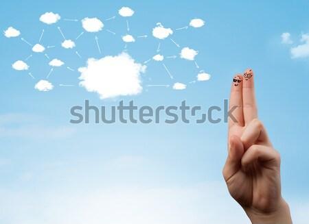 Vinger cloud-netwerk gezichten hand glimlach Stockfoto © ra2studio