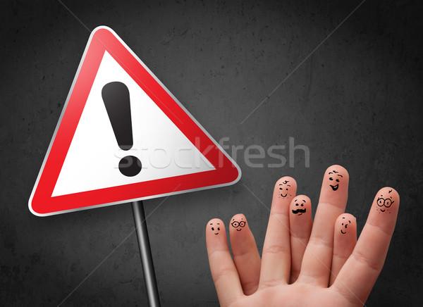Mutlu parmaklar bakıyor üçgen Stok fotoğraf © ra2studio