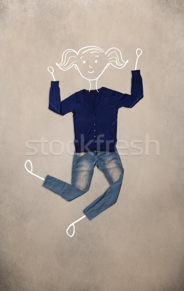 Kleding actie vrouw tekening kleurrijk verschillend Stockfoto © ra2studio