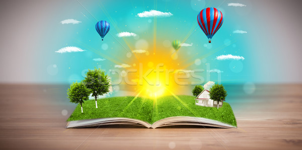 Сток-фото: открытой · книгой · зеленый · природы · Мир · из