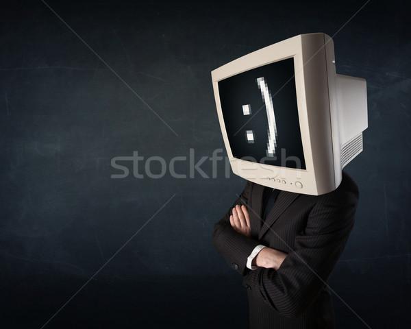 Funny młodych biznesmen monitor głowie Zdjęcia stock © ra2studio