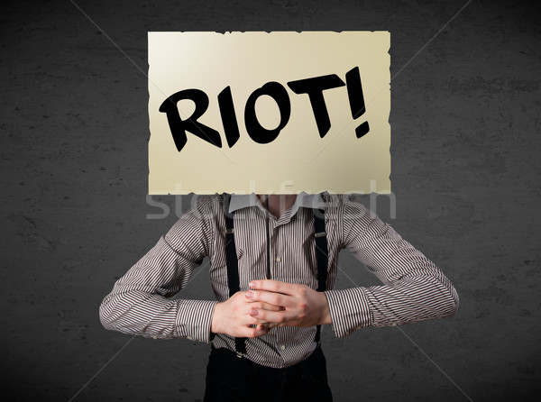 Zakenman protest teken demonstratie boord Stockfoto © ra2studio