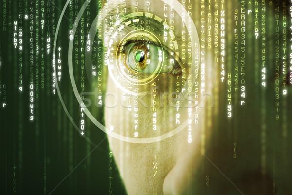 Moderne vrouw matrix oog medische technologie Stockfoto © ra2studio