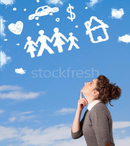Fiatal lány álmodozás család háztartás felhők kék ég Stock fotó © ra2studio