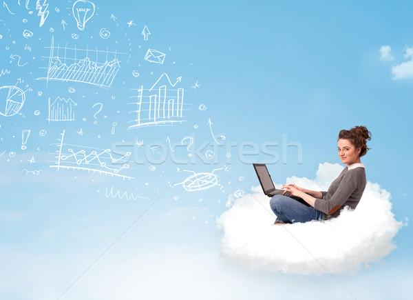 Fiatal nő ül felhő laptop csinos táblázatok Stock fotó © ra2studio