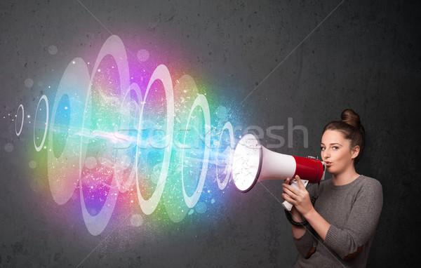 Jovem alto-falante colorido energia viga bonitinho Foto stock © ra2studio