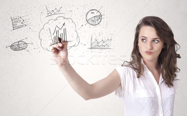 Jungen Dame finanziellen Tabelle Symbole Symbole Stock foto © ra2studio