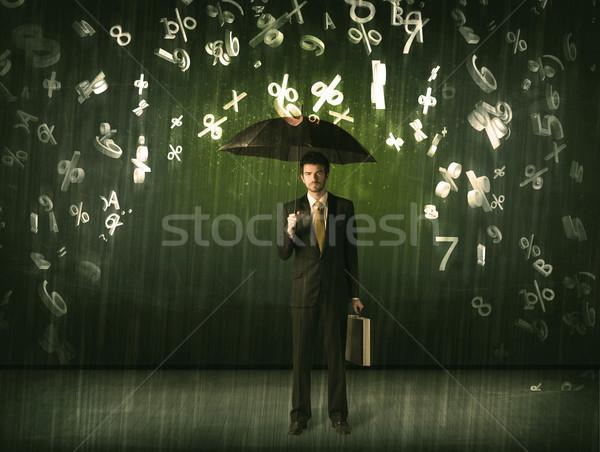 üzletember áll esernyő 3D számok esik az eső Stock fotó © ra2studio