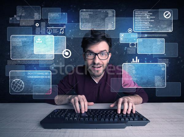NERD очки молодые хакер Сток-фото © ra2studio