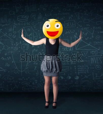 Foto stock: Mujer · de · negocios · cara · sonriente · funny · amarillo · negocios · sonrisa