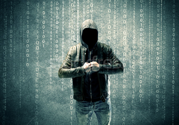 Angry mysterious hacker with numbers Stock photo © ra2studio