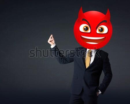 Empresário diabo rosto sorridente engraçado sorrir feliz Foto stock © ra2studio