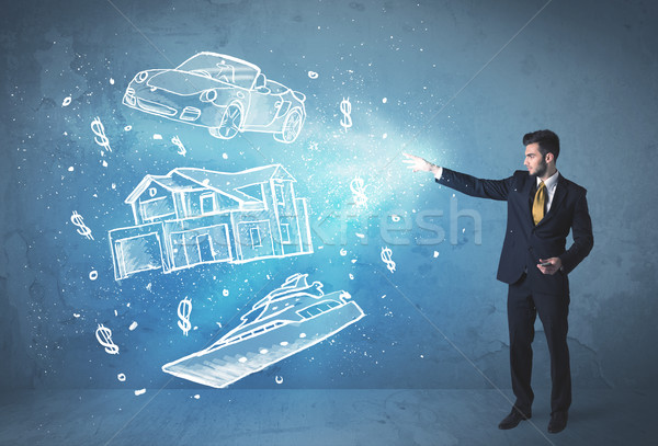 Rich person throwing hand drawn car yacht and house Stock photo © ra2studio