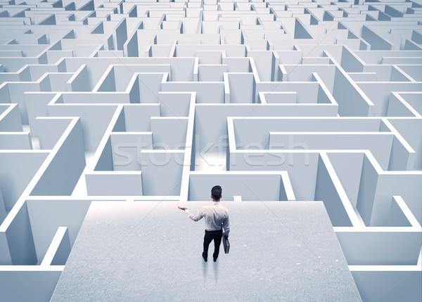 üzletember bámul végtelen labirintus elegáns áll Stock fotó © ra2studio