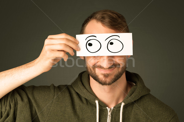 глупый человека глядя рисованной глаза Сток-фото © ra2studio