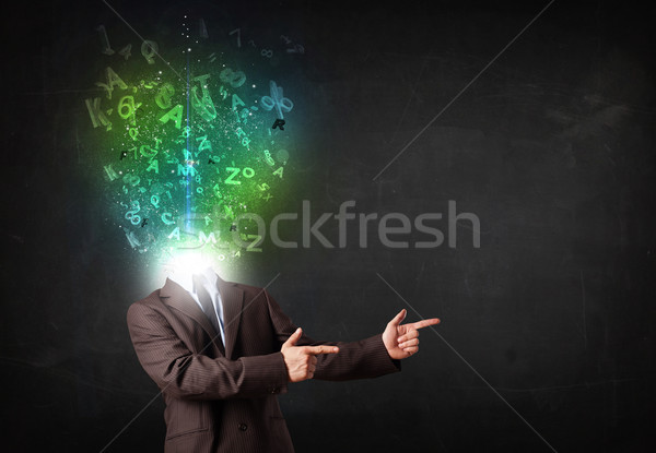 Business man with abstract glowing letters on head Stock photo © ra2studio