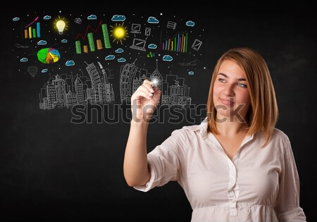 Cute woman sketching city and graph icons Stock photo © ra2studio