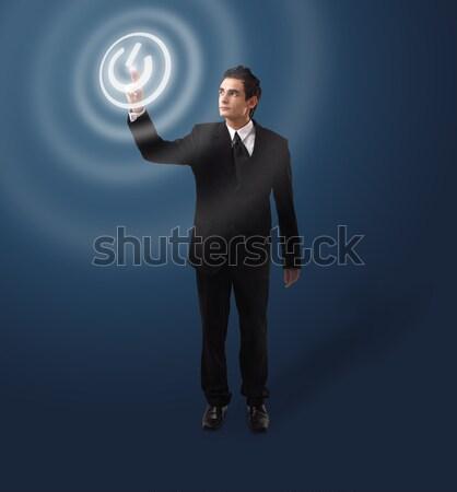 деловой человек кнопки стекла фон Сток-фото © ra2studio