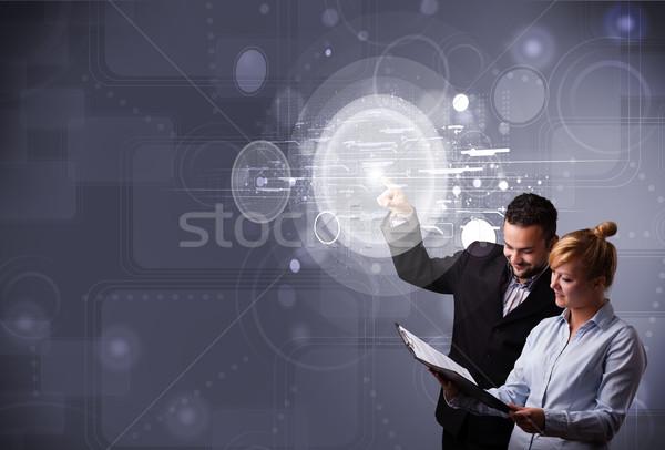 Mutlu çift dokunmak soyut yüksek teknoloji Stok fotoğraf © ra2studio