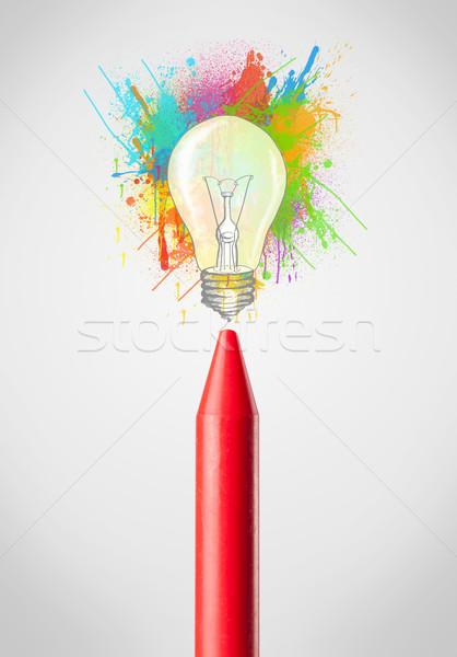 Pastello primo piano colorato vernice lampadina Foto d'archivio © ra2studio