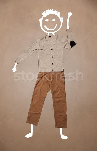 Lezser ruházat kézzel rajzolt vicces karakter emotikon Stock fotó © ra2studio