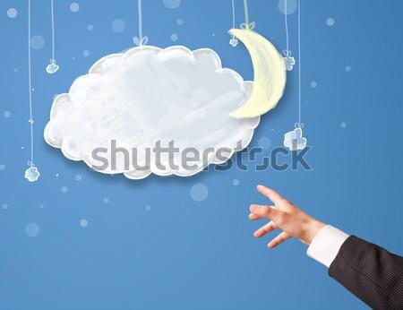 Strony wskazując cartoon noc chmury księżyc Zdjęcia stock © ra2studio