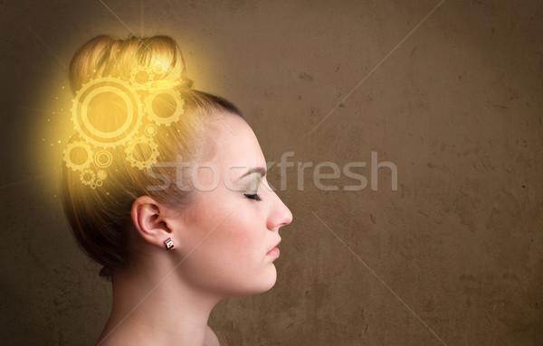 Astucieux fille pense machine tête illustration Photo stock © ra2studio