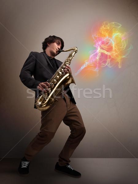 魅力的な ミュージシャン 演奏 サクソフォン カラフル 抽象的な ストックフォト © ra2studio