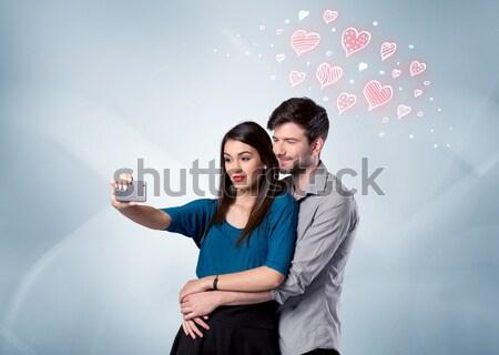 çift sevmek kırmızı kalp Stok fotoğraf © ra2studio