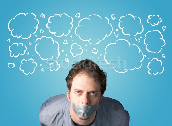 Funny osoby usta chmury około Zdjęcia stock © ra2studio