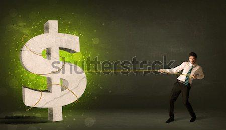 деловой человек большой зеленый знак доллара деньги Сток-фото © ra2studio