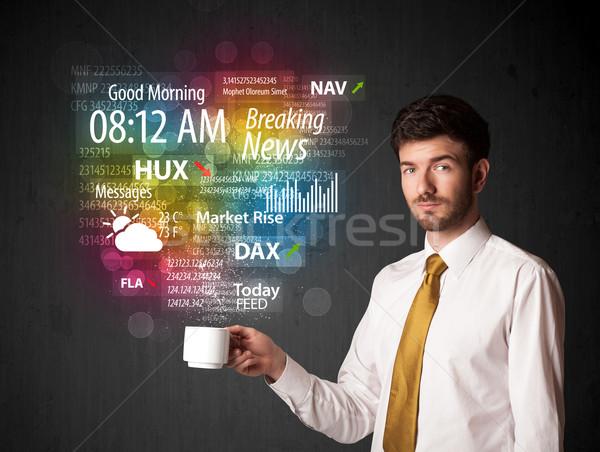 Zakenman witte beker dagelijks nieuws Stockfoto © ra2studio