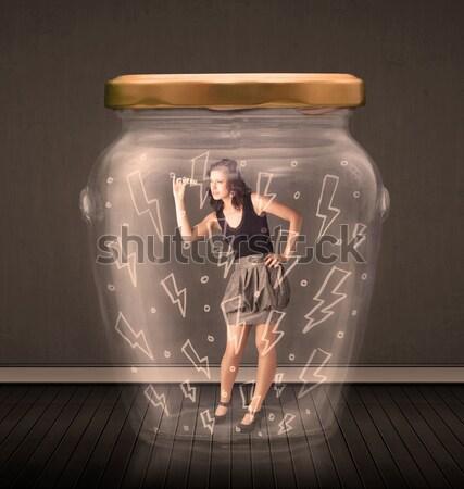 Işkadını içinde cam kavanoz yıldırım çizimler Stok fotoğraf © ra2studio