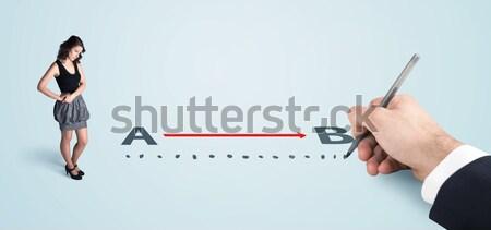 Stock fotó: üzletasszony · néz · piros · vonal · rajzolt · kéz