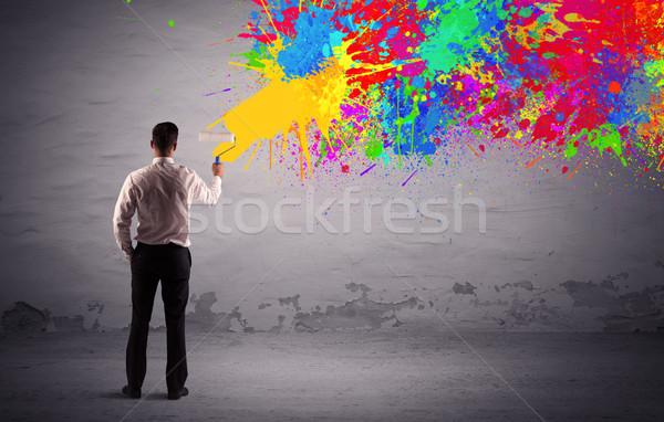 Vendite persona pittura colorato splatter elegante Foto d'archivio © ra2studio