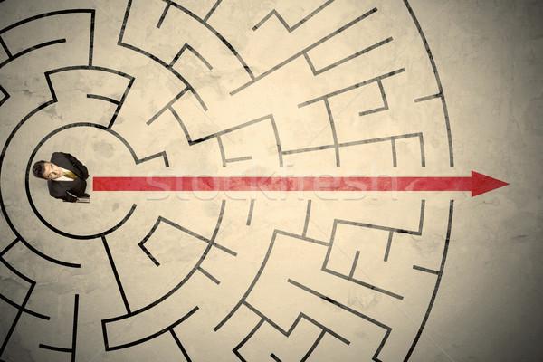 事業者 立って 迷路 赤 矢印 ストックフォト © ra2studio