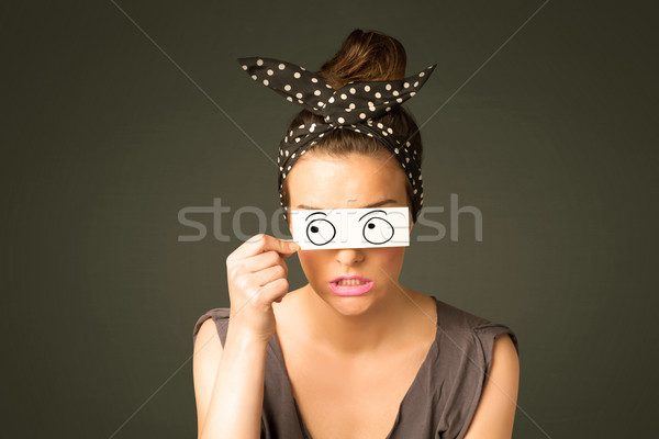 Jovem bobo menina olhando olho Foto stock © ra2studio