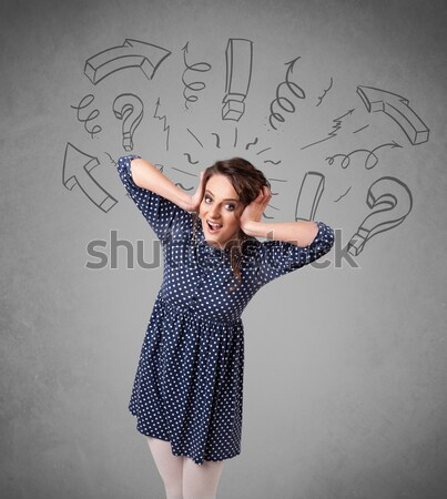 Fiatal nő hajstílus kézzel rajzolt feliratok haj egészség Stock fotó © ra2studio