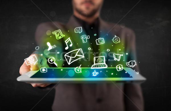 Kişi tablet medya simgeler semboller Stok fotoğraf © ra2studio
