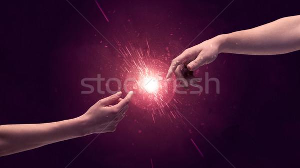 触れる 手 光 アップ スペース ストックフォト © ra2studio