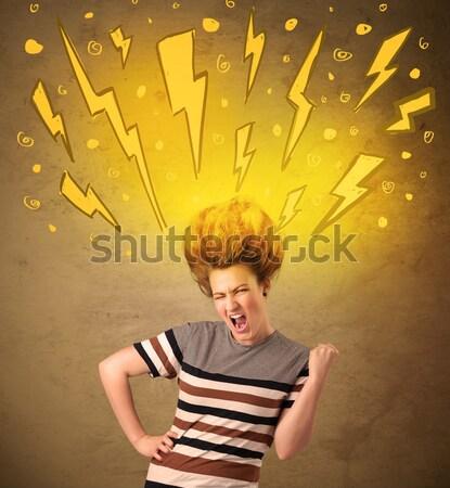 Fiatal nő hajstílus kézzel rajzolt nő lány boldog Stock fotó © ra2studio