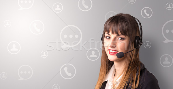 Stock photo: Female telemarketer concept