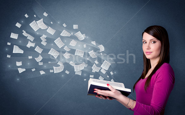 Young lady holding book  Stock photo © ra2studio