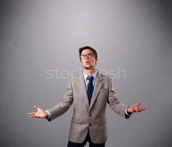 Stock photo: funny man juggling with copy space