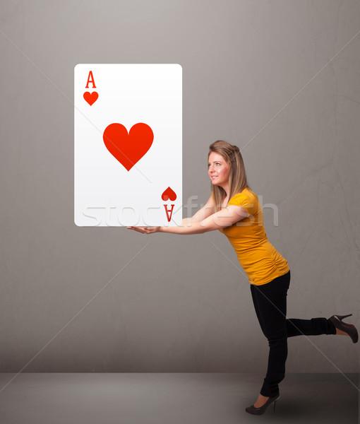 女性 赤 中心 エース 若い女性 ストックフォト © ra2studio