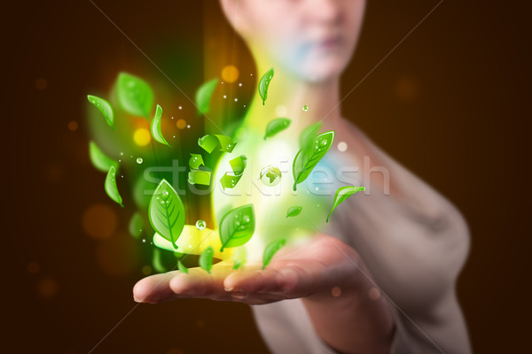 Young woman presenting eco green leaf recycle energy concept Stock photo © ra2studio