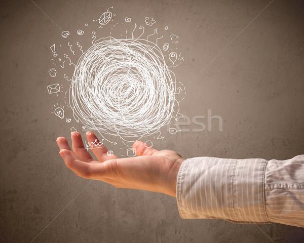Chaos strony kobieta dłoni dziewczyna Zdjęcia stock © ra2studio