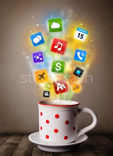 Caneca de café colorido mídia ícones comida Foto stock © ra2studio