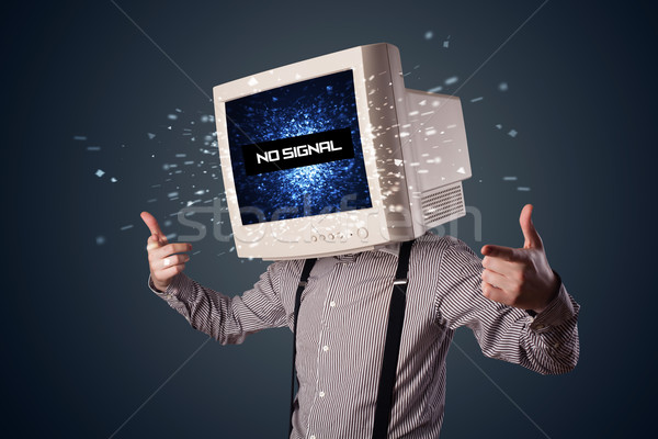ストックフォト: 男 · モニター · 頭 · 信号 · にログイン