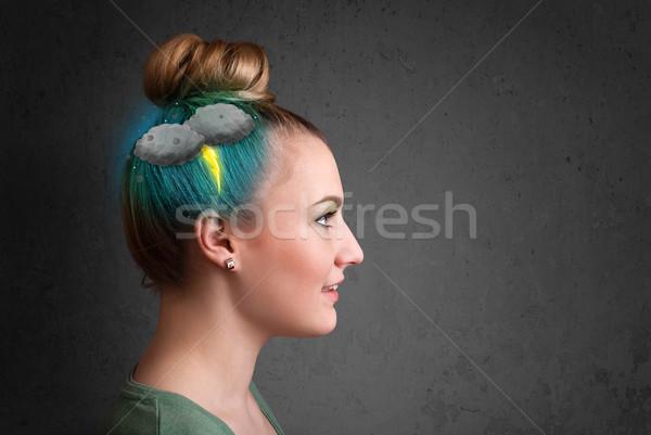 Genç kız sağanak yıldırım baş ağrısı örnek iş Stok fotoğraf © ra2studio